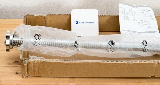 Wellactive Langhantelstange im Test - Griff: ca. 117 cm lang / 2 Hantelaufsätze: je ca. 32,5 cm lang