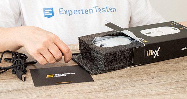 Endgame Gear XM1 Gaming Maus im Test - Maße: 122,14 x 38,26 x 65,81 mm (B x H x T) / Gewicht: 70 g (inklusive Kabel)