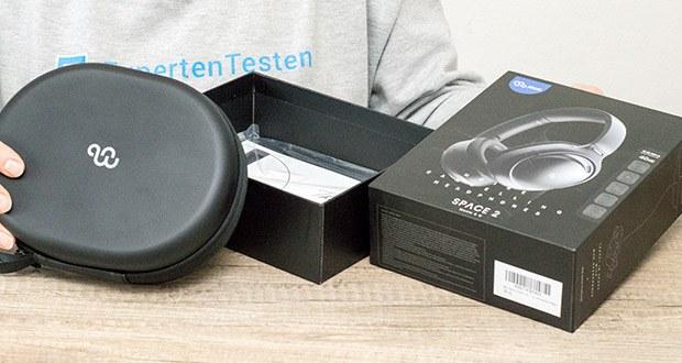 Mu6 Space 2 Active Noise Cancelling Kopfhörer im Test - Lieferumgang: 1 x Mu6 Space2 Hybrid-ANC-Ohrhörer, 1x 2,5/3,5mm Audiokabel, 1x USB-Typ-C-Kabel, 1x Ohrhörergehäuse, 1x Benutzerhandbuch