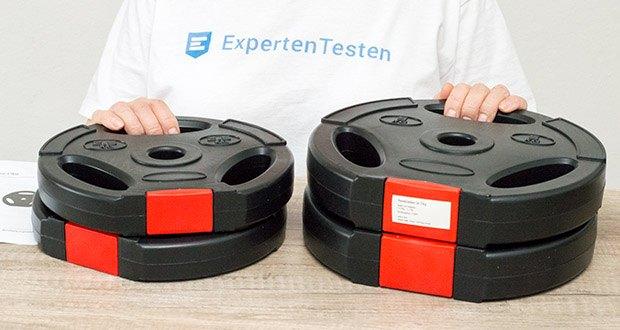 Wellactive Hantelscheiben Set im Test - Lieferumfang: 2 x 2,5 kg Scheibe und 2 x 5 kg Scheibe
