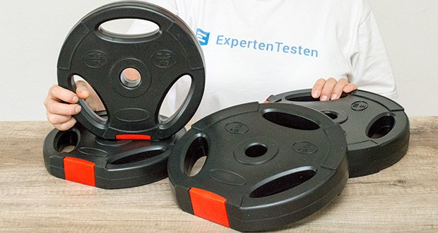 Wellactive Hantelscheiben Set im Test - Abmessungen (ø x B)/Gewicht: Maße 2,5 kg Scheibe: ca. 23,9 x 4 cm; Maße 5 kg Scheibe: ca. 27,5 x 5 cm
