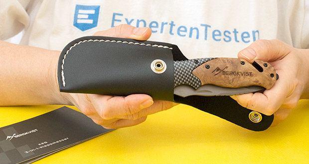 ERGKVIST 3-in-1 Outdoormesser K20 im Test - zu deinem Taschenmesser erhältst du einen kleinen Messerschärfer und eine Messertasche