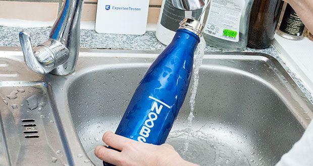 Noobs Premium Trinkflasche 500ml blau im Test - die Flasche darf nicht in die Spülmaschine, da Edelstahlprodukte generell nie in die Spülmaschine dürfen