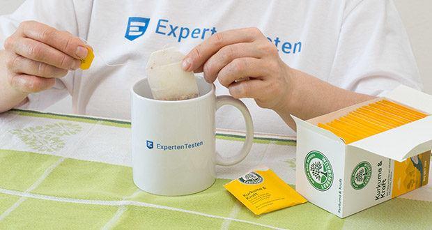 Lebensbaum Kurkuma & Kraft Teebeutel 40g im Test - Zubereitung: Einen Teebeutel mit sprudelnd kochendem Wasser übergießen und den Tee 10 Minuten ziehen lassen