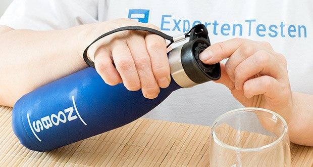 Noobs Premium Trinkflasche 500ml blau im Test - durch den praktischen Trinkdeckel können Sie mit nur 1 Klick die Flasche öffnen und wieder schließen