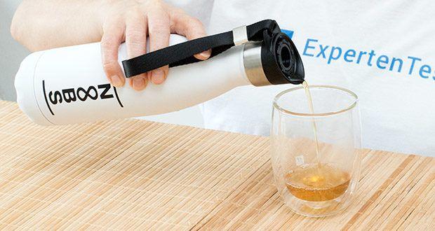 Noobs Premium Thermosflasche 500ml weiß im Test - durch den Lufteinlass fließt das Wasser angenehm und an einem Stück raus, ohne lästiges gluckern