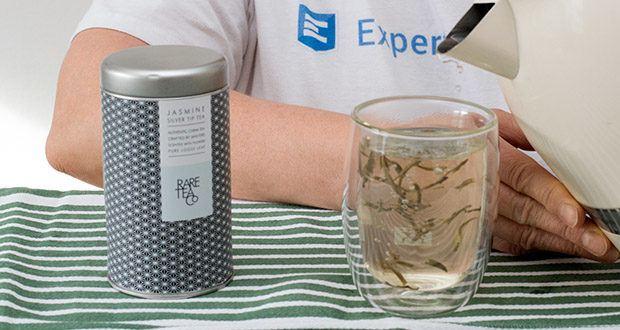 Rare Tea Company Jasmine White Silver Tip Tee im Test - Ziehzeit und Aufgüsse: 70 Grad Wasser
