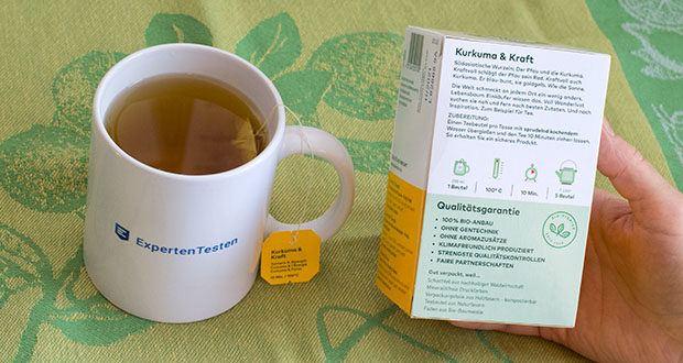 Lebensbaum Kurkuma & Kraft Teebeutel 40g im Test - Inhaltsstoffe / Zutaten: Kurkuma (35 %), Hagebutte, Wilder Apfel, Limette, Ingwer, Pfeffer, Honigblatt