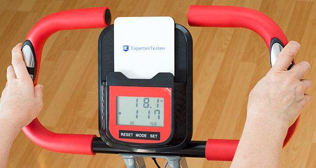 Wellactive Heimtrainer F-Bike Curved im Test - Trainingscomputer mit LC-Display, zeichnet alle relevanten Daten der Trainingseinheit auf (Zeit-, Geschwindigkeits-, Kalorienverbrauchs-, Distanz- und Pulsanzeige) und Handpulssensoren