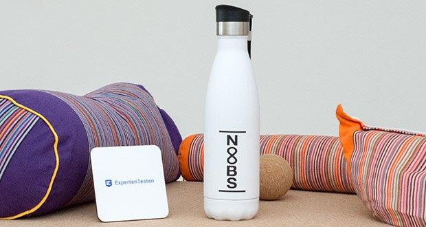 Noobs Premium Thermosflasche 500ml weiß im Test - die perfekte Flasche für Fitness, Yoga, Sport und Outdoor!