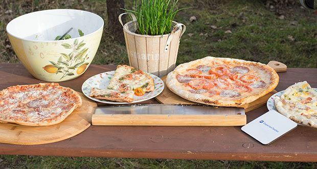 GARCON Pizzastein 4er Set im Test - mit dem italienischen Pizza Rezeptbuch steht dem gemütlichen Pizzaabend mit Familie oder Freunden nichts mehr im Wege