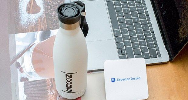 Noobs Premium Thermosflasche 500ml weiß im Test - hält heiße Getränke bis zu 12 Stunden warm; kalte Getränke bleiben bis zu 16 Stunden kalt