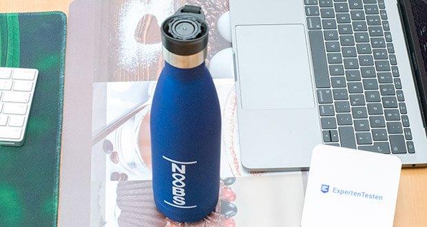 Noobs Premium Trinkflasche 500ml blau im Test - hält heiße Getränke bis zu 12 Stunden warm; kalte Getränke bleiben bis zu 16 Stunden kalt