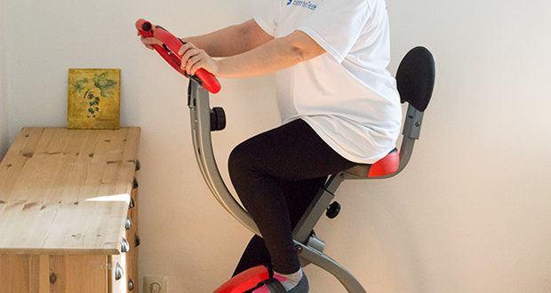 Wellactive Heimtrainer F-Bike Curved im Test - hoher Sitzkomfort dank höhenverstellbarem Sitz und der klappbaren Rückenlehne