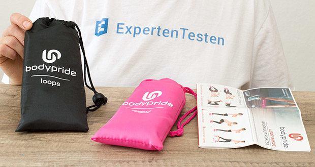 BODYPRIDE Premium Fitness Loop Bands im Test - Farben: Pink / Anthrazit / Material: 100% Naturkautschuk / Verpackung: Transportbeutel