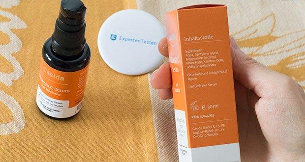 Casida Vitamin C Serum + Hyaluron im Test - Inhaltsstoffe: Aqua, Pentylene Glycol, Magnesium Ascorbyl Phosphate*, Xanthan Gum, Sodium Hyaluronate *Stabilisiertes, oxidationssicheres Vitamin C