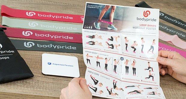 BODYPRIDE Premium Fitness Loop Bands im Test - in jedem Set eine Trainingsanleitung mit effektiven Workouts inkl.