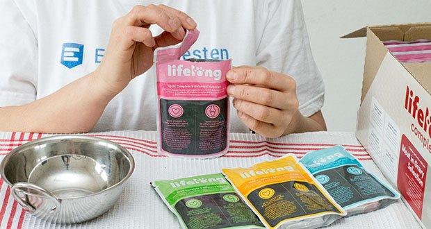 Lifelong Katzenfutter mit Fleischauswahl im Test - enthält einen Ballaststoff (Inulin) für eine leichtere Verdaulichkeit; enthaltenes Biotin sorgt für ein glänzendes Fell