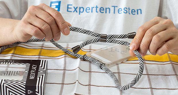 NECKLACY Domino Swirl Handycase für iPhone 7/8 im Test - die Kordeln sind alle ca. 1,5 Meter lang und einfach verkürzbar
