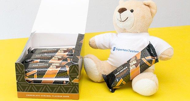 Amfit Nutrition Protein-Riegel mit Schokoladen-Karamell im Test - Proteingefüllter Snack für unterwegs