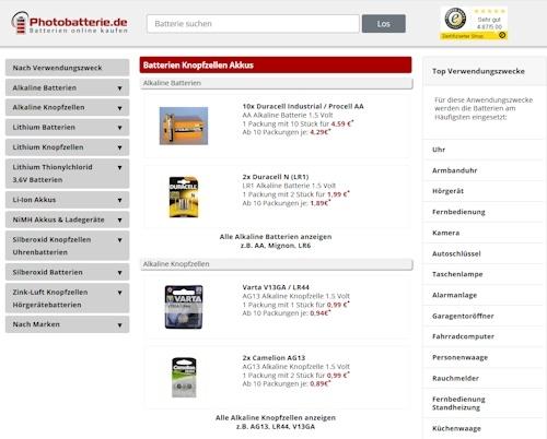 Photobatterie.de Onlineshop - Große Auswahl an Batterien und Knopfzellen