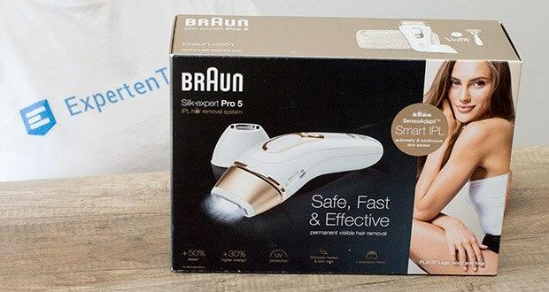 Braun Silk-Expert Pro 5 IPL-Haarentfernungsgerät im Test - Intelligentes IPL-Gerät mit SensoAdaptTM-Hautsensor (mit UV-Schutz)