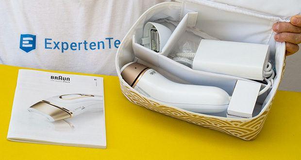 Braun Silk-Expert Pro 5 IPL-Haarentfernungsgerät im Test - Liferungfang: 1 x IPL Gerät; 1 x Präzisionsaufsatz; 1 x Premium-Aufbewahrungstasche, 1 x Gillette Venus-Rasierer