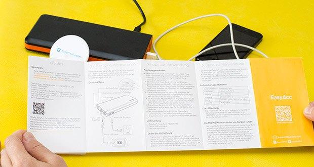 EasyAcc 20000mAh Powerbank im Test - die einzigartigen 4A Dual Eingänge können die PowerBank in ca. 6 Stunden aufladen - doppelt so schnell wie herkömmliche 20000 mAh PowerBanks