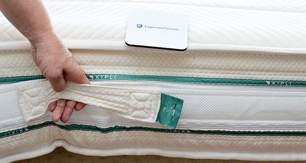 KIPLI Naturlatex-Matratze im Test - die 4 handgenähten Griffe, mit denen Sie die Naturlatex-Matratze einfach und sicher transportieren können
