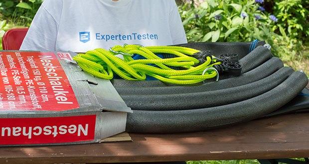 Izzy Sport Nestschaukel im Test - Lieferumfang: 1x Schaukelsitzfläche, 4x Rahmenrohre, 2x Seile, Montageanleitung