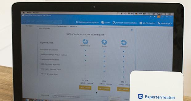 EaseUS Partition MasterPro im Test - unterstützt Windows 10/8/7/Vista/XP