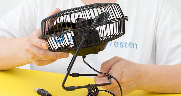 EasyAcc USB-Tischventilator 9 Zoll im Test - die Drehung um 360 ° ermöglicht eine multidirektionale Kühlung und eine gleichmäßigere Luftzirkulation