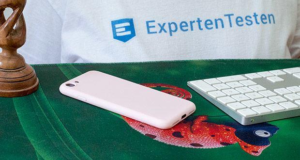 EasyAcc Hülle für iPhone 7/8/SE Hellrosa im Test - durch die schmutzabweisende TPU Hülle gibt es keine lästigen Fingerabdrücke und Ansammlungen von Staub oder Öl