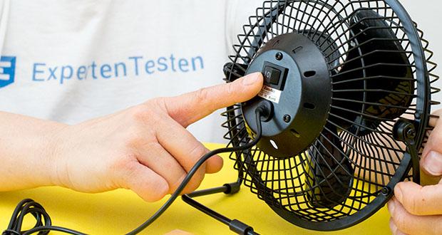 EasyAcc USB-Tischventilator 9 Zoll im Test - verfügt über zwei Windgeschwindigkeits-Steuerungsmodi: Niedrig-Hoch