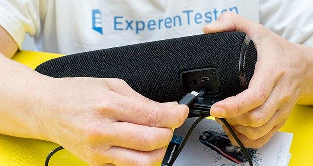 EasyAcc F10 Bluetooth Lautsprecher im Test - gibt es folgende Anschlussmöglichkeiten: Bluetooth, USB, RCA und Aux