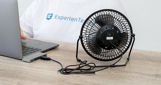 EasyAcc USB-Tischventilator 9 Zoll im Test - das mitgelieferte 1,2 m lange Netzkabel ermöglicht das Aufladen über USB über Laptops, Computer, Ladegeräte, Powerbanks oder andere USB-fähige Geräte