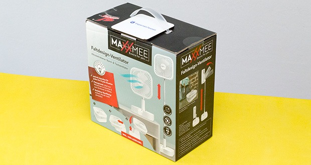 MAXXMEE Akku-Ventilator klappbar im Test - Maße: geklappt ca. ø 197 x 100 mm, ausgezogen ca. ø 197 x 975 mm