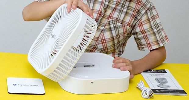 MAXXMEE Akku-Ventilator klappbar im Test - einfach ausklappen, aufstellen, einschalten und erfrischen lassen