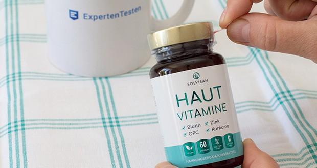 SOLVISAN Haut Vitamine im Test - wichtige Vitamine: Biotin (265 μg), Folsäure (400 μg), Vitamin A (800 μg) Vitamin B1 (2,3 mg), B2 (3 mg), B5 (18 mg), B6 (3 mg), Vitamin C (40 mg), Vitamin D (10 μg), Vitamin E (24 mg) sind ideal aufeinander abgestimmt