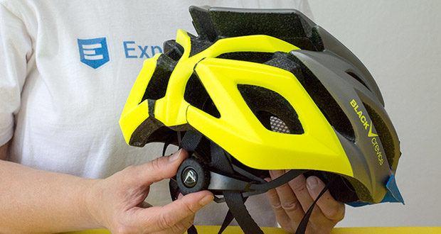 Blackcrevice Fahrrad- & Mountainbike Helm im Test - ein am Hinterkopf verlaufendes Band ist mittels Stellrad stufenlos verstellbar und ermöglicht somit eine besonders präzise Passgenauigkeit des Helms