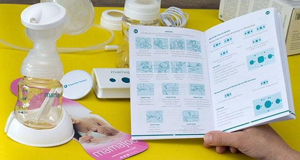 Mamajoo Elektronische Milchpumpe im Test - Sie können Massage Saugstufen oder die laufenden Funktionen von LCD Anzeige verfolgen oder wählen