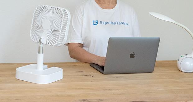 MAXXMEE Akku-Ventilator klappbar im Test - Flüsterleise (max. 46 db) - stört weder im Arbeits- noch im Schlafzimmer