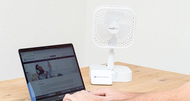 MAXXMEE Akku-Ventilator klappbar im Test - ob unterwegs im Zug, beim Camping im Zelt, im Arbeitszimmer oder in der Werkstatt - dieser akkubetriebene Ventilator ist unabhängig von Steckdosen nahezu überall einsatzbereit