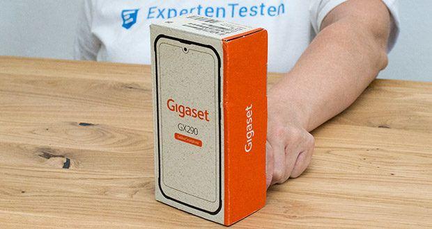 Gigaset Outdoor Smartphone GX290 im Test - die Verpackung des GX290 wird aus recyclingfähigen und kompostierbaren Grasfasern hergestellt