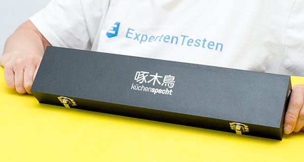 küchenspecht Kochmesser aus Damast Stahl im Test - wird in einer edlen, mattschwarzen Holzbox geliefert