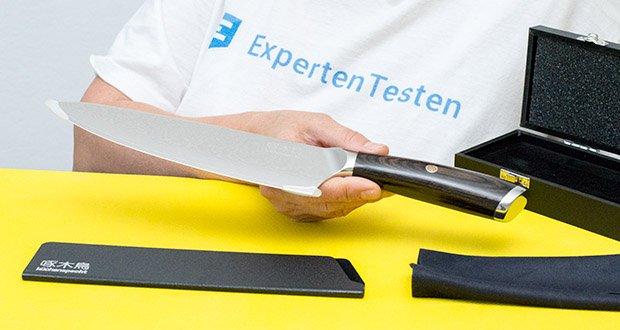 küchenspecht Kochmesser aus Damast Stahl im Test - wird durch 67 Lagen Stahl und einem speziellen Säureverfahren geschaffen
