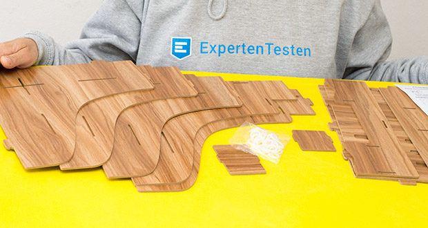 Lesfit Holz Stehsammler für Schreibtisch im Test - um die aus Holz gefertigter Ablage zu schützen, wird die Holz speziell bearbeitet