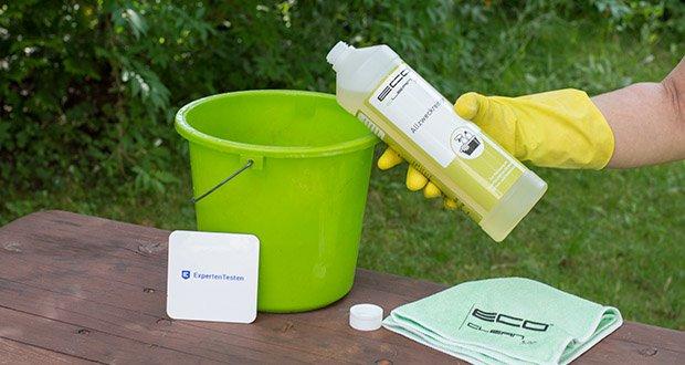ECO-Clean by LcM Allzweckreiniger 1000 ml im Test - durch Verdünnung mit Wasser kann die Konzentration des Reinigers für die Materialien verringert werden