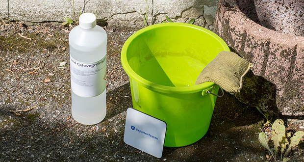 ECO-Clean by LcM Stein- und Gehwegreiniger im Test - wird in einem Mischungsverhältnis von 1:10 mit Wasser verdünnt angewendet