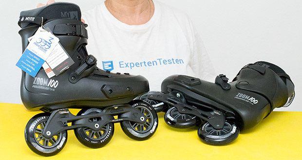 Powerslide Inlineskates Zoom Pro Black 100 im Test - Materialenn - Schale: Glasfaserverstärkter Kunststoff; Schiene: Aluminium; Kugellager: Chromstahl